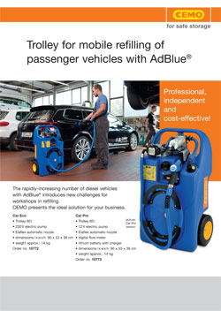 TROLLEY FOR MOBILE REFILLING OF PASSENGER VEHICLES WITH ADBLUE
